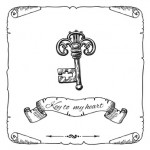 Hand drawn vector sketch illustration vintage key for your design